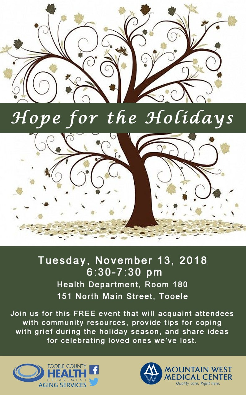 Hope For The Holidays Nov 13th Tooele County Health Department